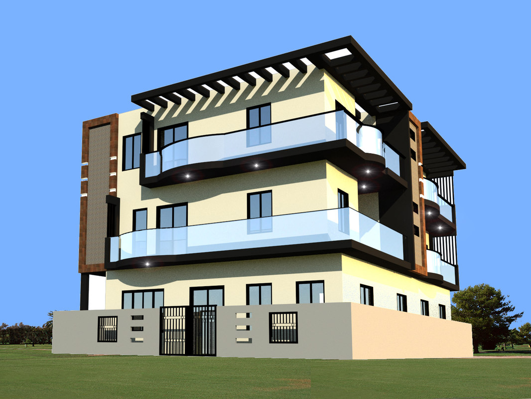 3d 3 story apartment building model