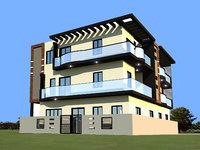 3D 3 story apartment building model
