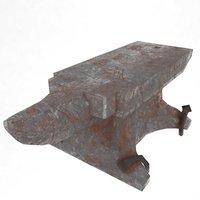 3D model anvil sledgehammer blacksmith