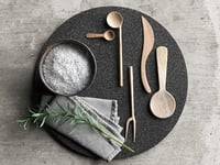 Lava Plate with Wooden Tableware,Napkin and Rosemary