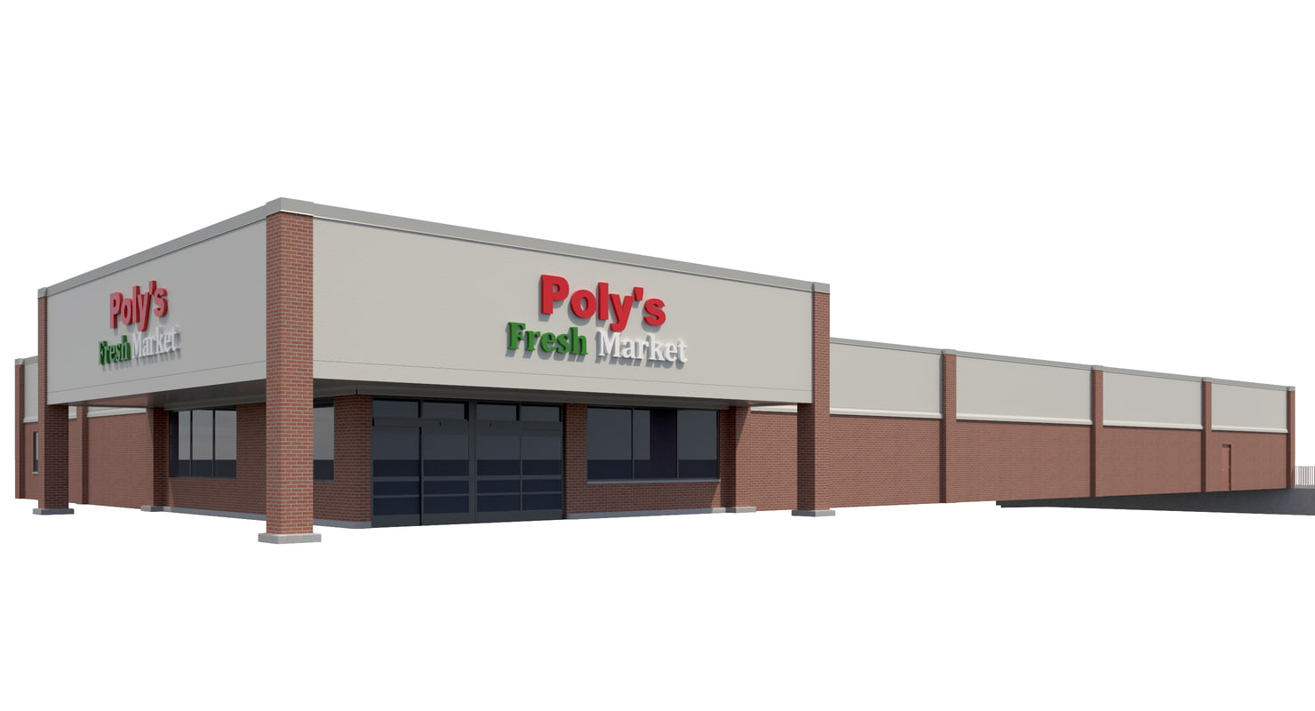 exterior retail grocery store 3D model