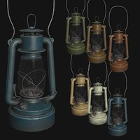 3D old kerosene lamp