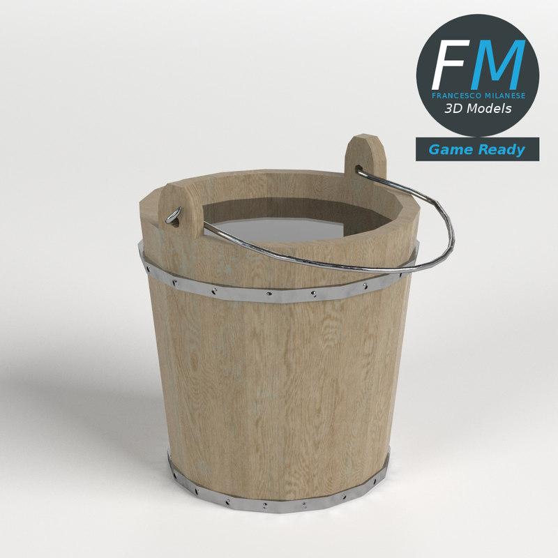 wooden bucket gr 3D model