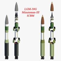 intercontinental ballistic missile 3D model