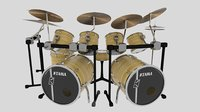 3D instrument drums set model
