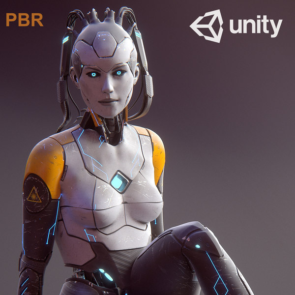 3d model sci-fi female android character