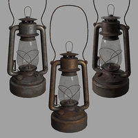 old rusty kerosene lamp 3D model
