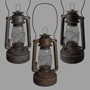 old rusty kerosene lamp 3D model