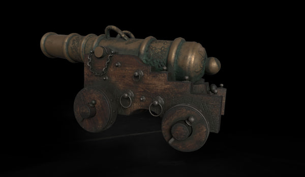 antique cannon naval 3D