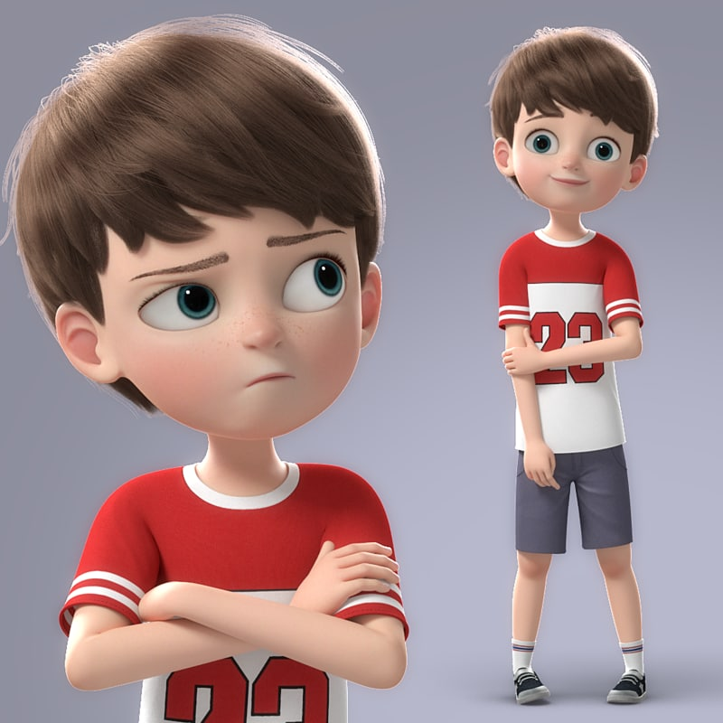 cartoon boy rigged 3d model turbosquid