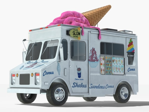 3D realistic ice cream truck