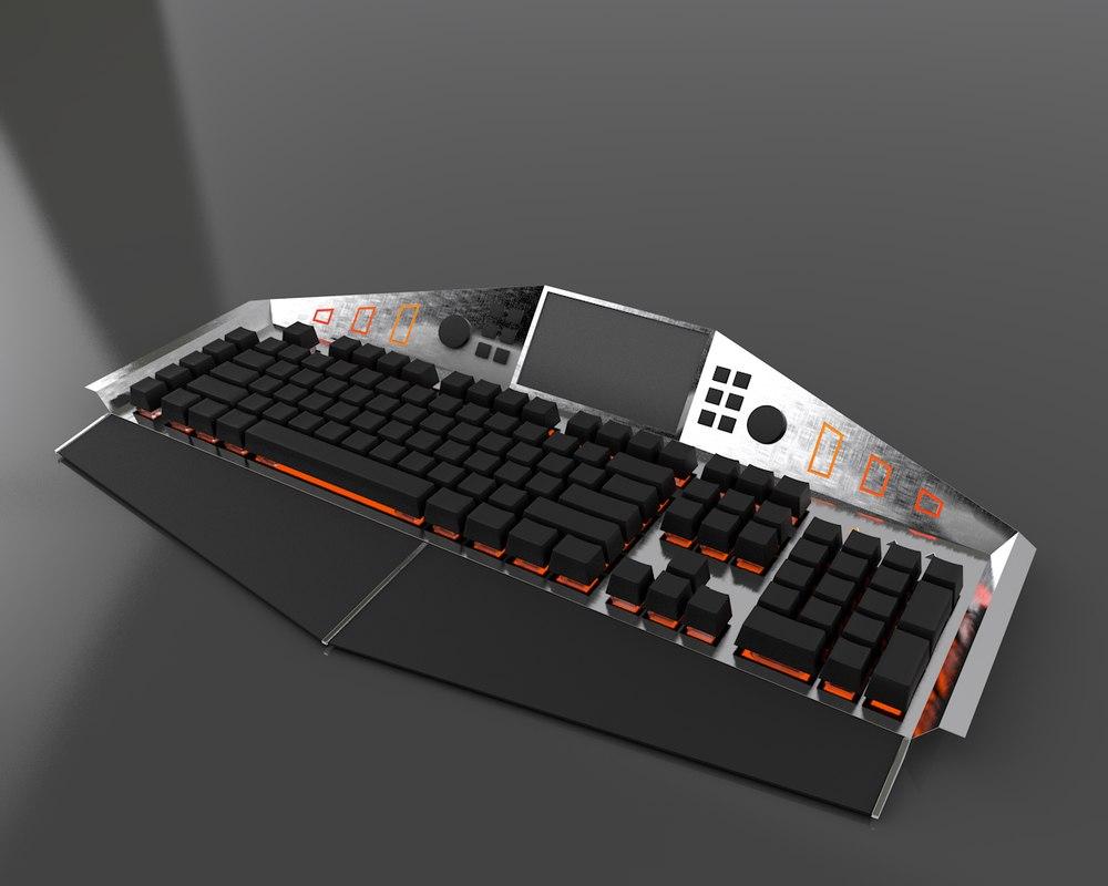modern gaming keyboard rgb 3D model