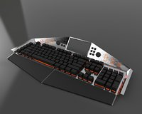modern gaming keyboard rgb 3D model