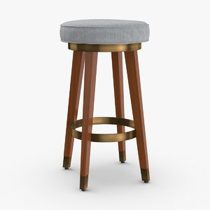 3D mid-century-modern-bar-stool model