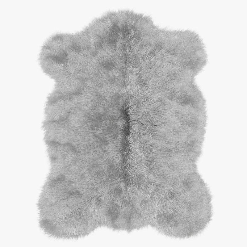 wool plush mongolian sheepskin 3D