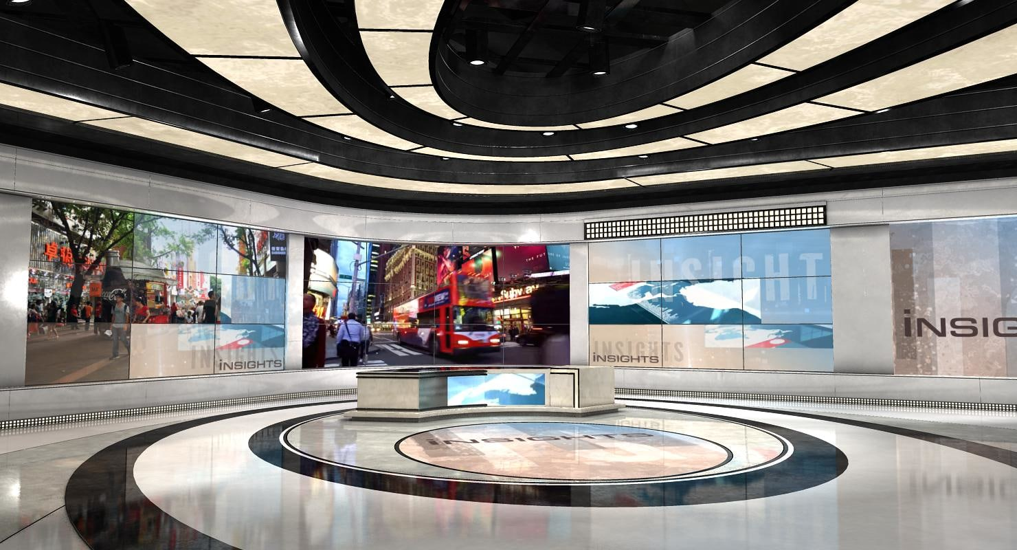 virtual set news studio model