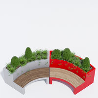 Curved planter bench one