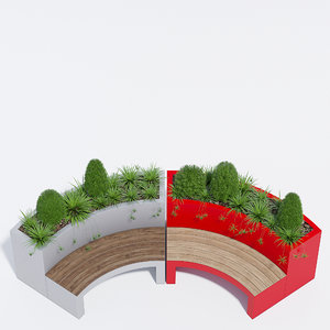 metal curved planter bench 3D