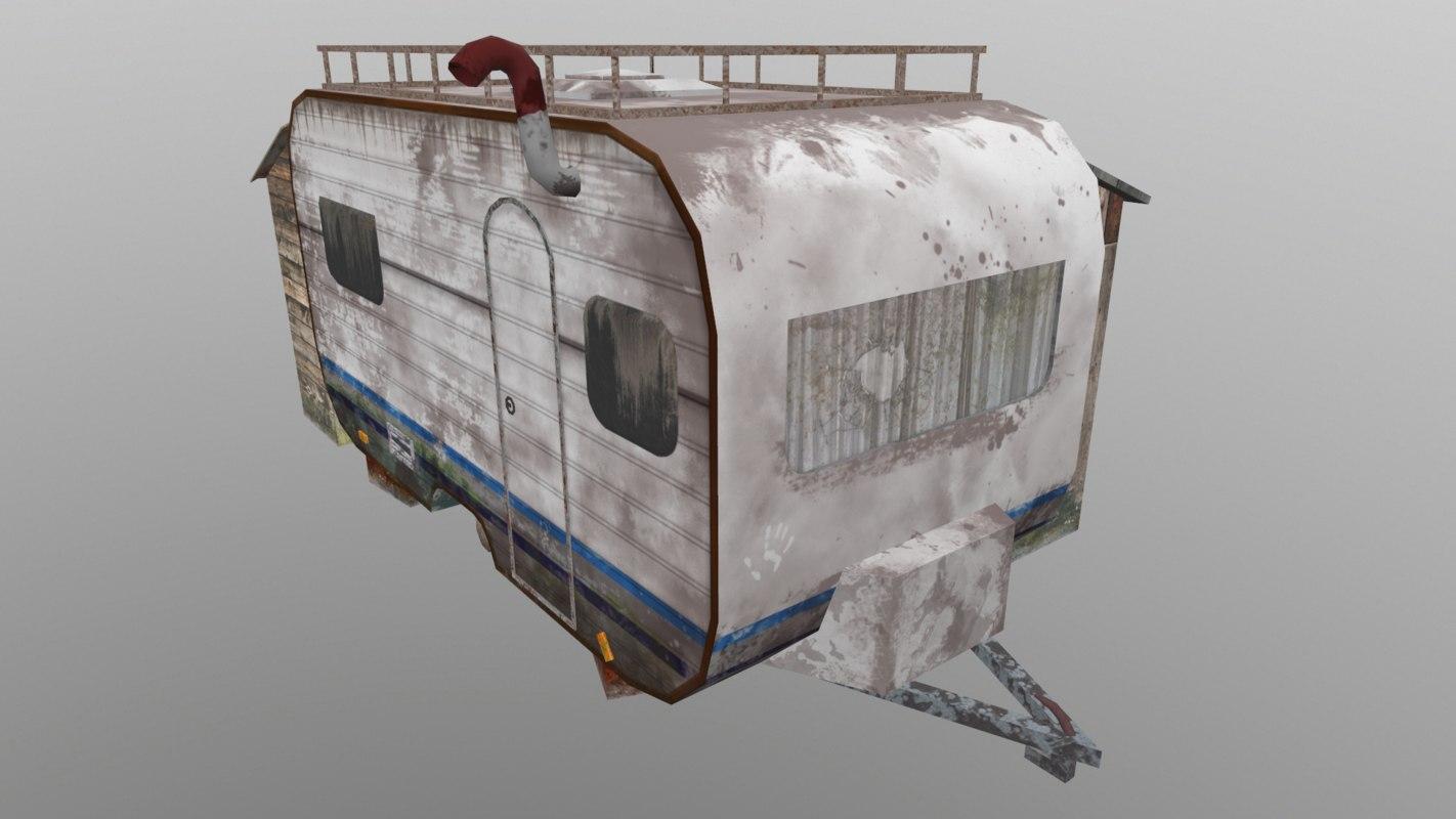 3D model old ruined caravan