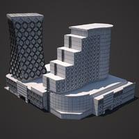 multifunctional modern building model