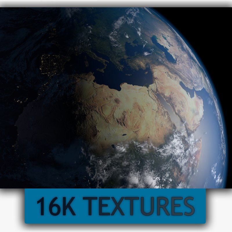16k earth day night 3D