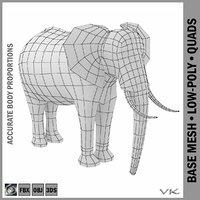 3D mesh african bush elephant