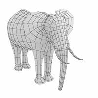 African Elephant Animal Base Mesh Low Poly