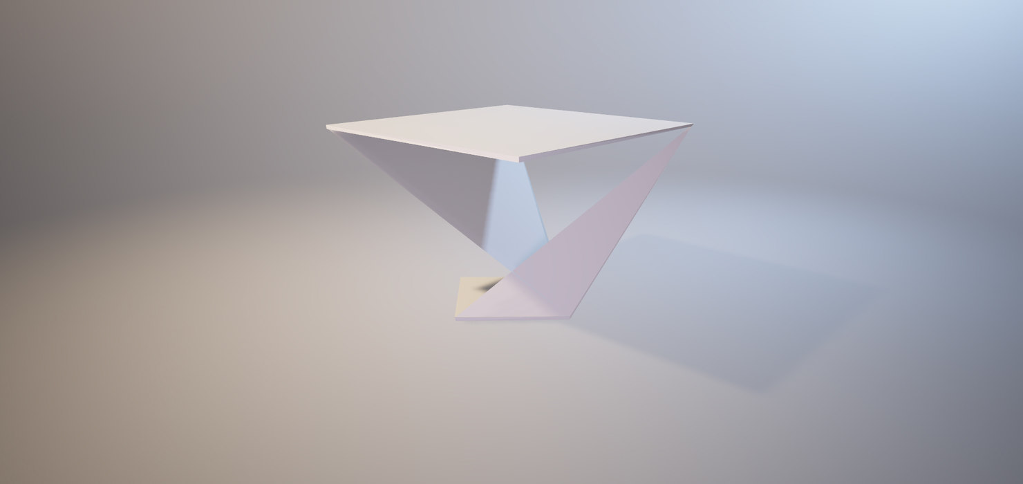 geometric triangular table set 3D model