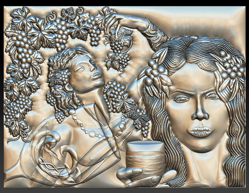 dionysus god wine girl 3D
