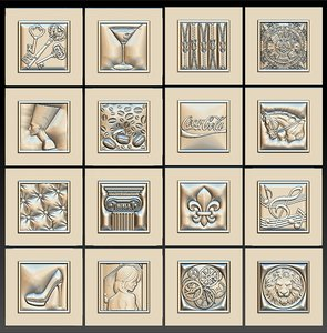 3D model set 16 decorative basorelief