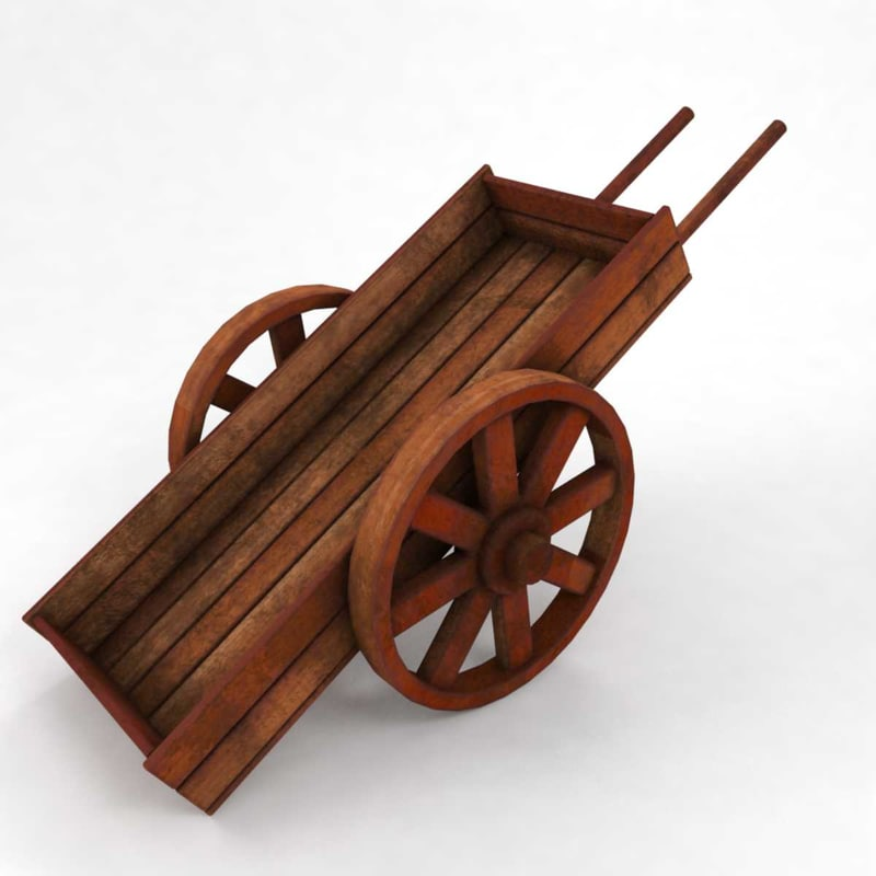 3D model medieval tools wooden cart