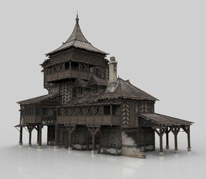 3D model medieval house fantasy 12
