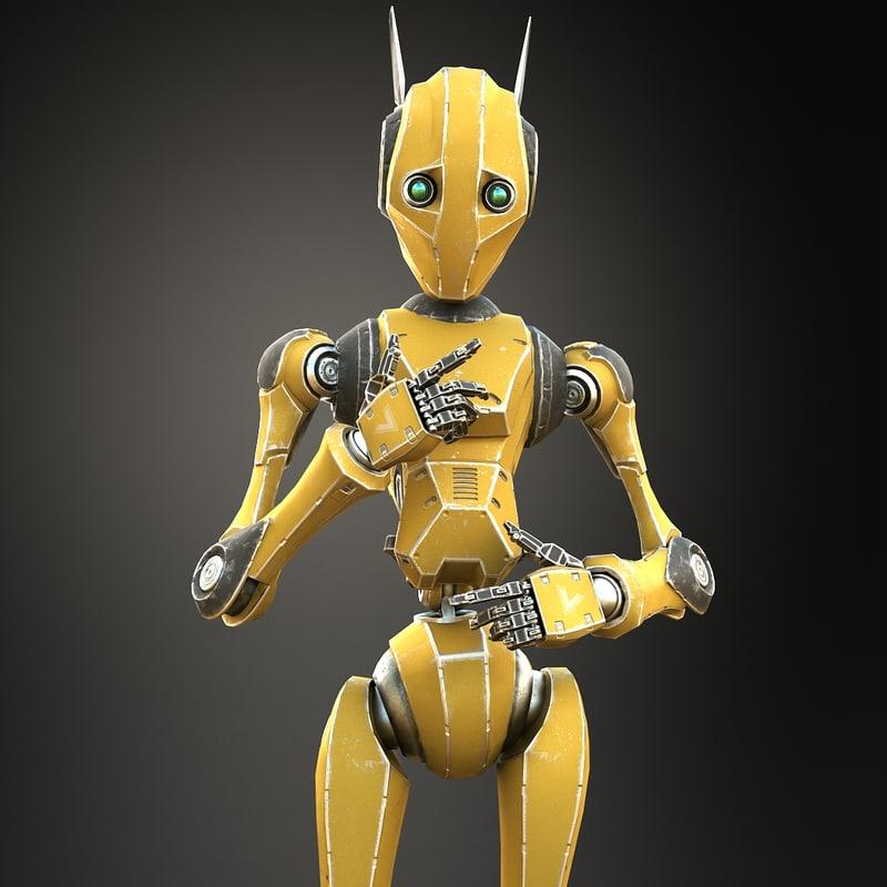 realistic worker bot 3D model