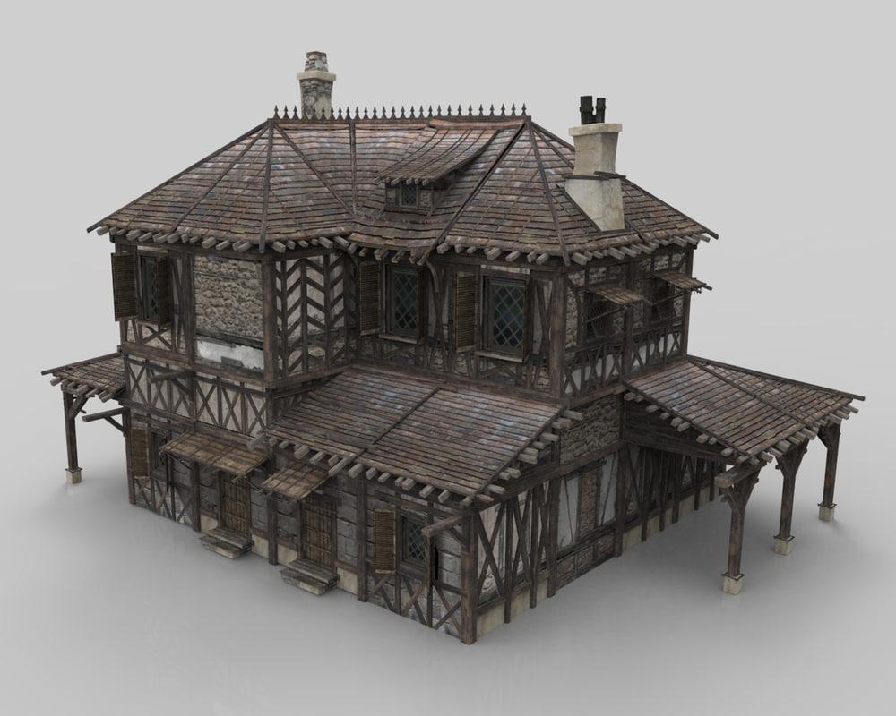 medieval house fantasy 14 3D