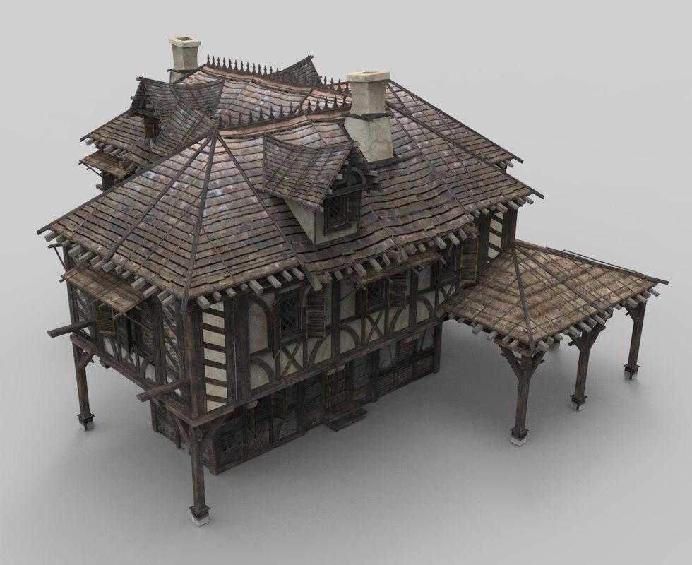 3D model medieval house fantasy 18