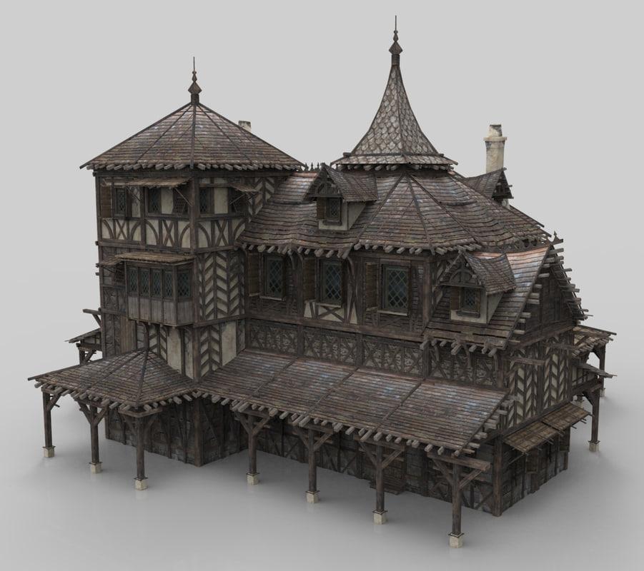 medieval house fantasy 20 model