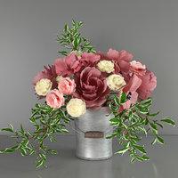 bouquet peonies ranunculus 3D model