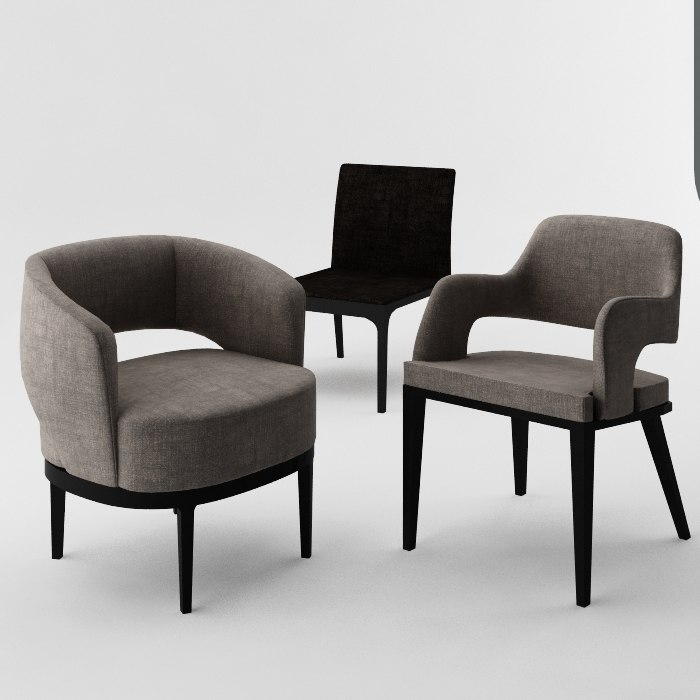3D 3 chairs model