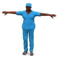 3D male nurse african american
