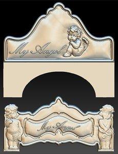 3D angel headboard bed stl