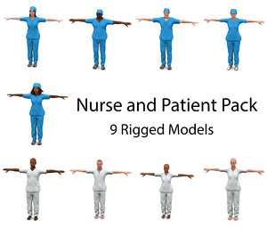 3D nurse patient pack rigged characters model