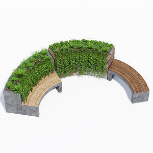 3D curved planter bench