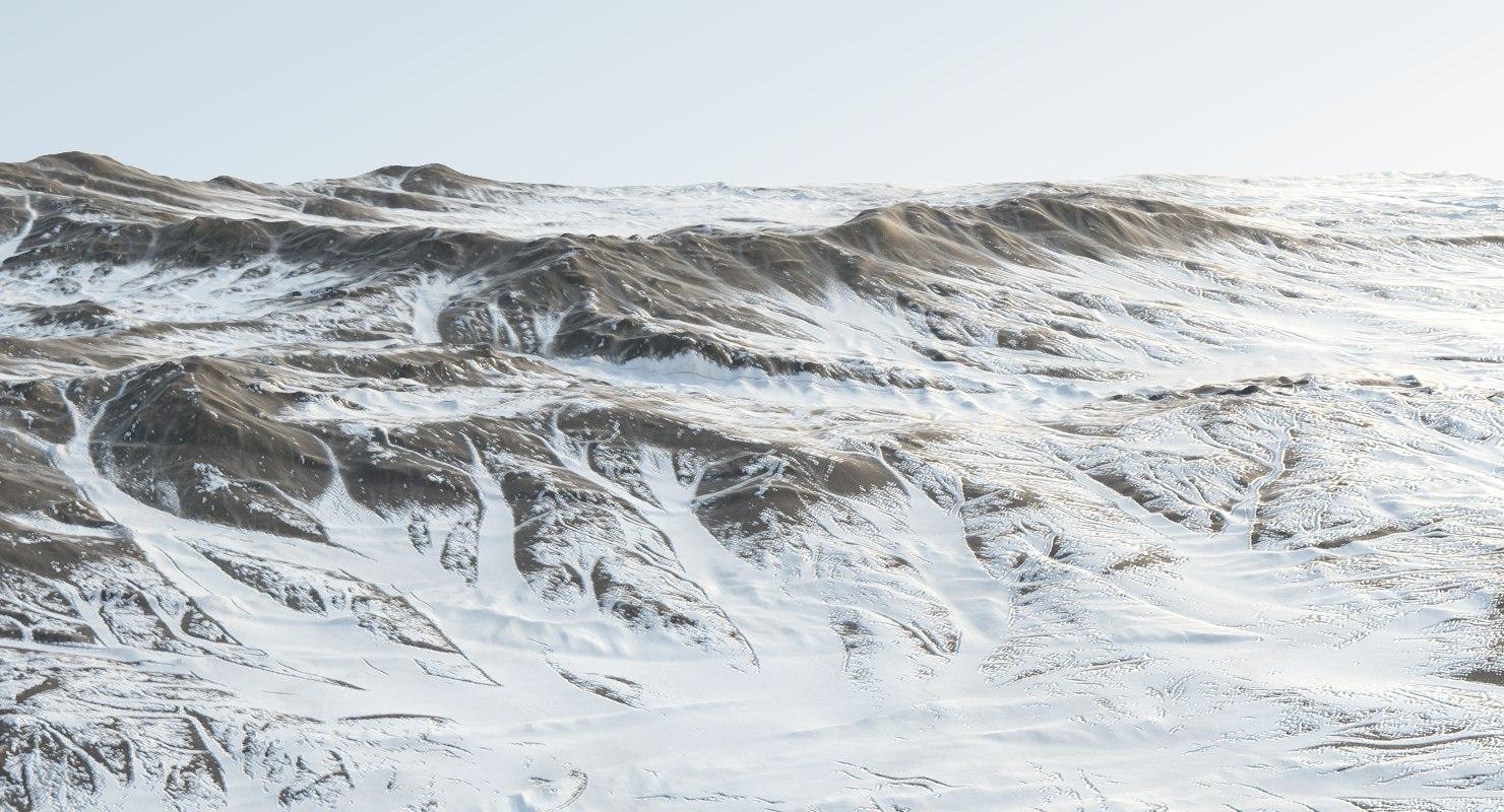 3D snowy plain snow landscape