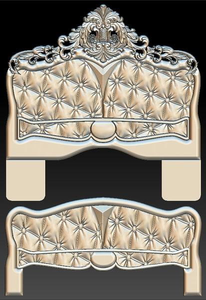 3D model leather headboard bed stl