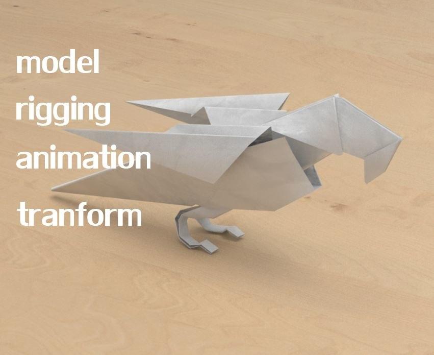 Paper Bird 3d Model Turbosquid 1252766