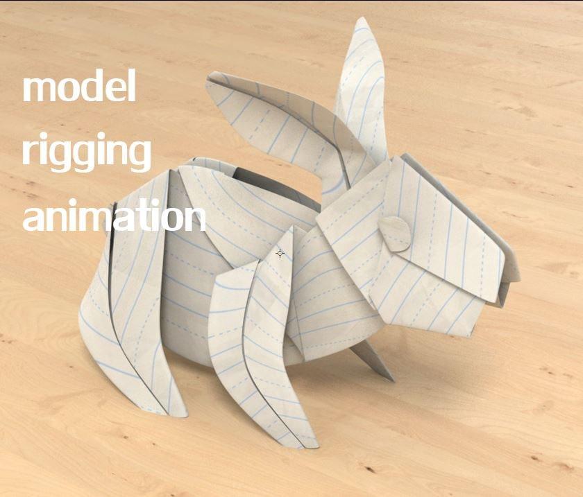 3D paper rabbit