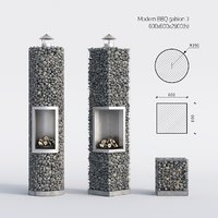 3D model 3 stones barbecue
