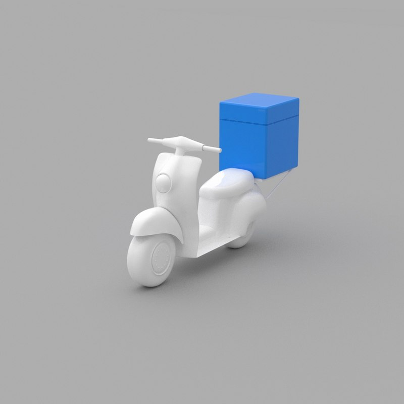 3D cartoon delivery scooter