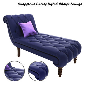 soapstone curves tufted chaise lounge 3D model