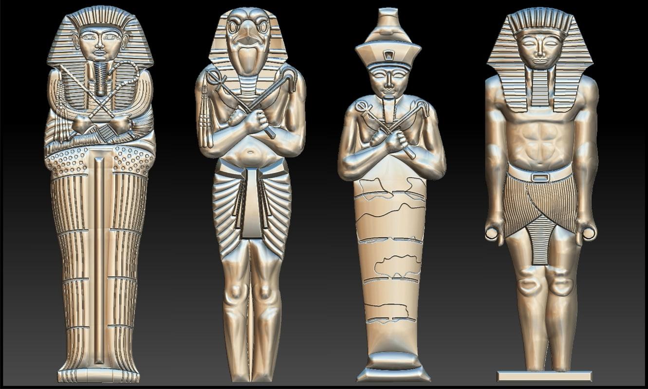 set 4 statues egypt 3D model